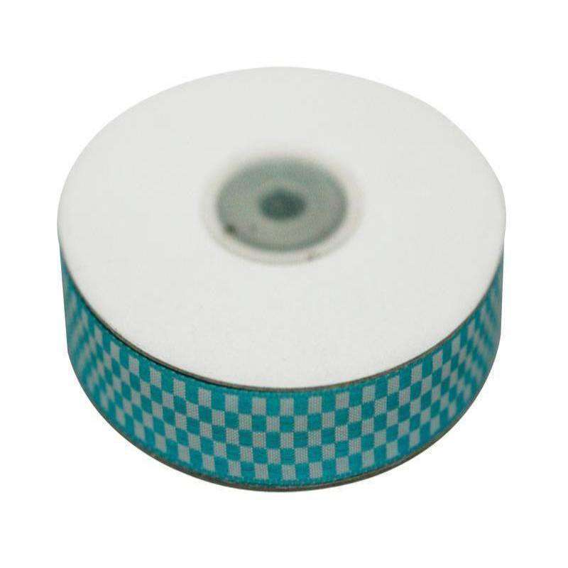 "Checkered Ribbons Gingham 5/8"" x 25yrds per roll-Turquoise"
