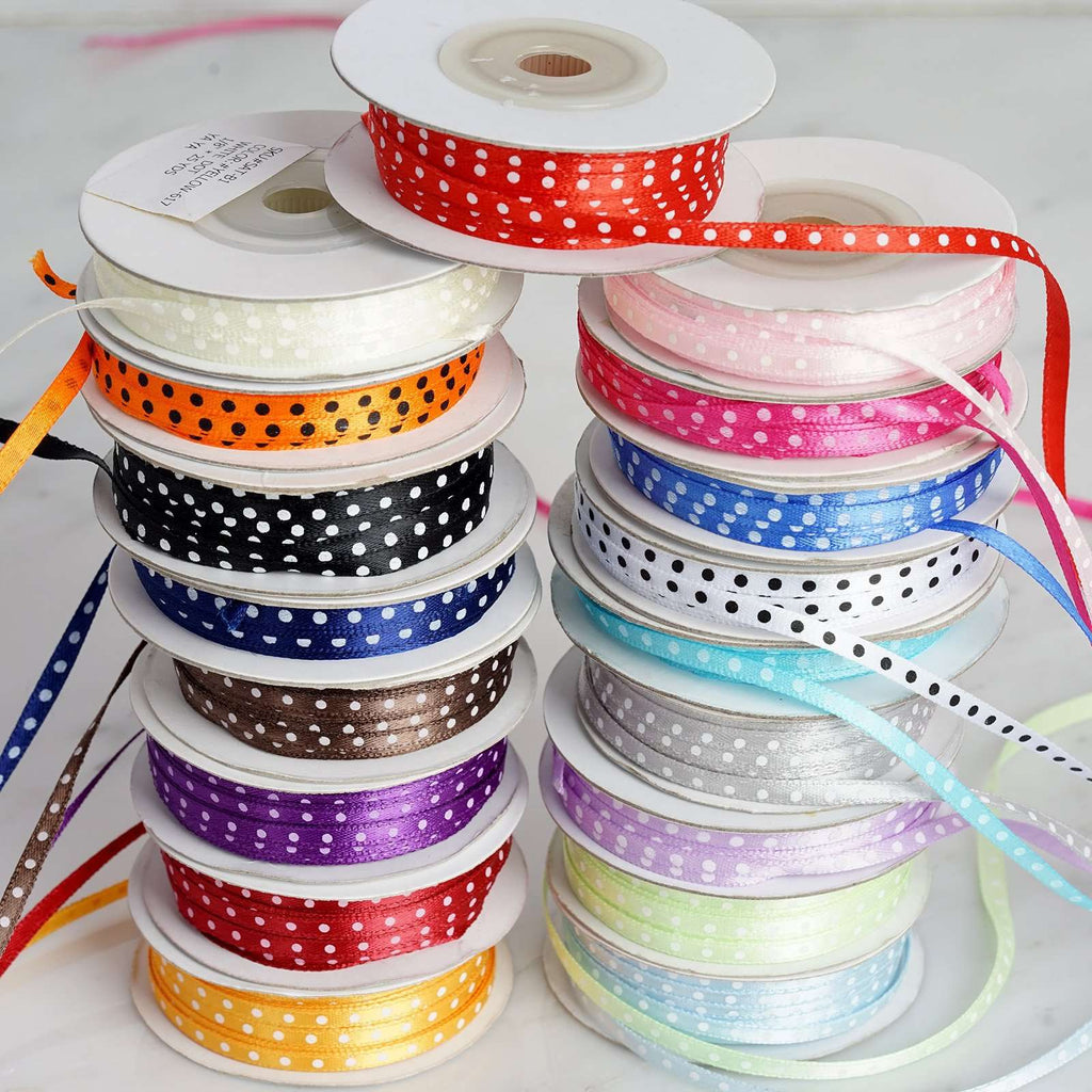 "25 Yards 1/8"" DIY White Satin Polka Dot Ribbon"
