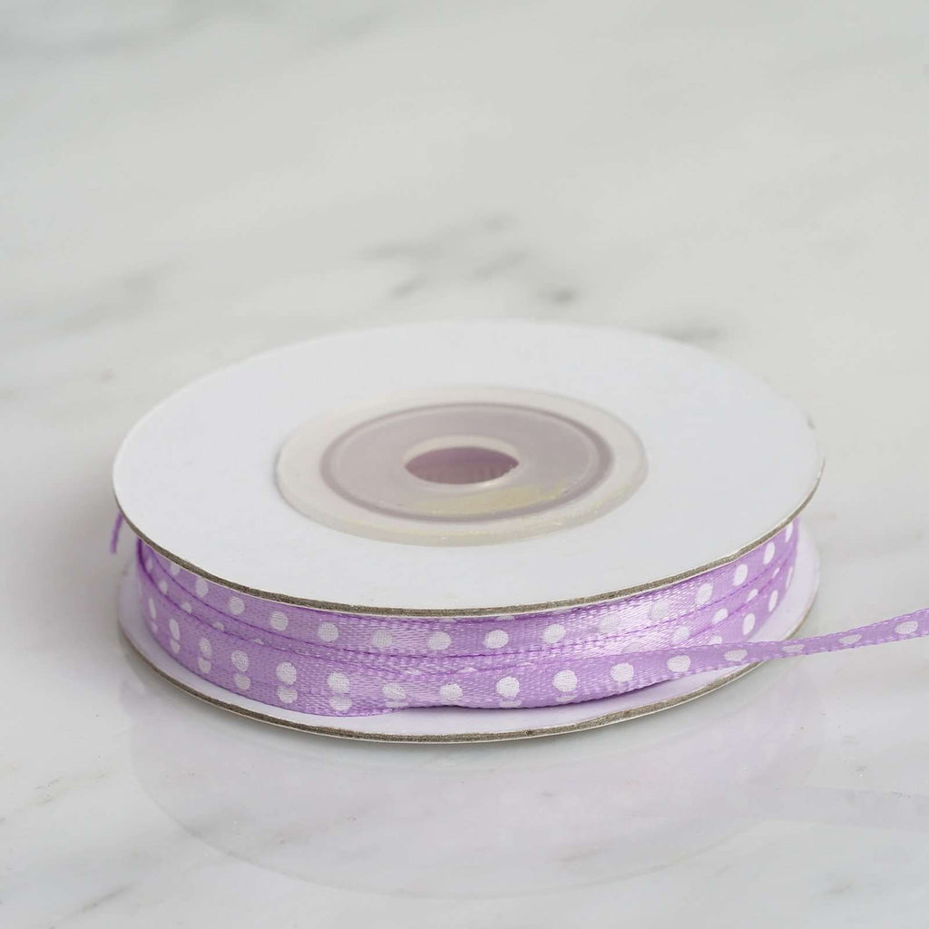 "25 Yards 1/8"" DIY Lavender Satin Polka Dot Ribbon"
