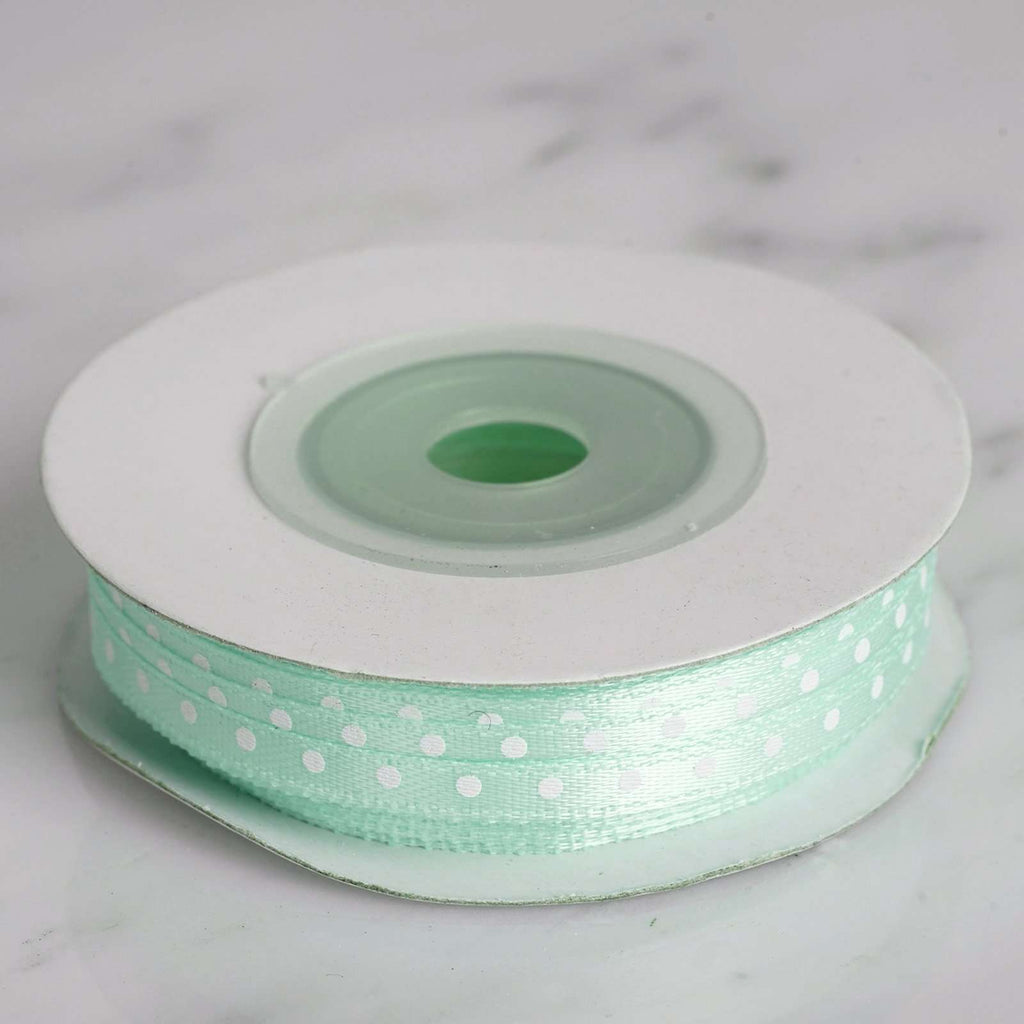 "25 Yards 1/8"" DIY Mint Satin Polka Dot Ribbon"
