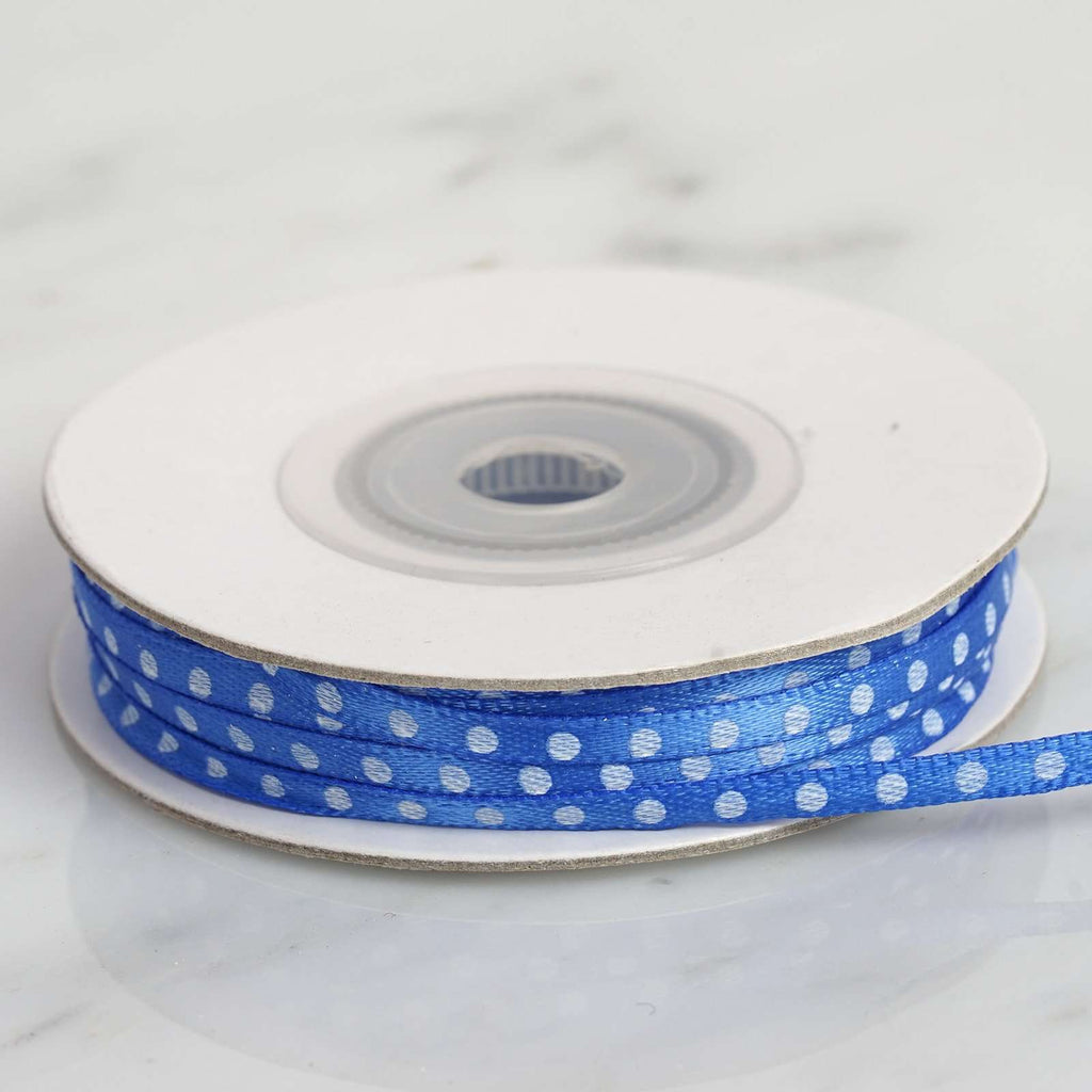 "25 Yards 1/8"" DIY Royal Blue Satin Polka Dot Ribbon"