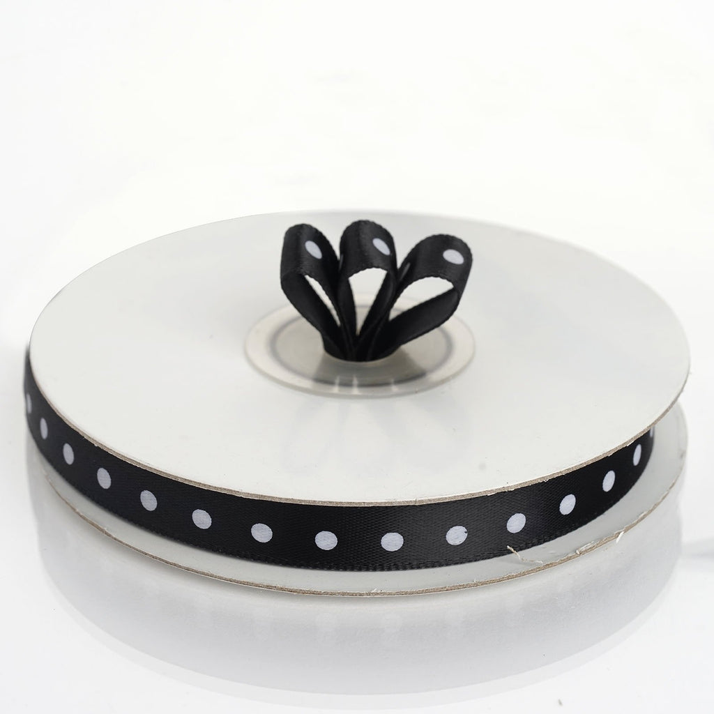 "25 Yards 3/8"" DIY Black Polka Dot Satin Ribbon"