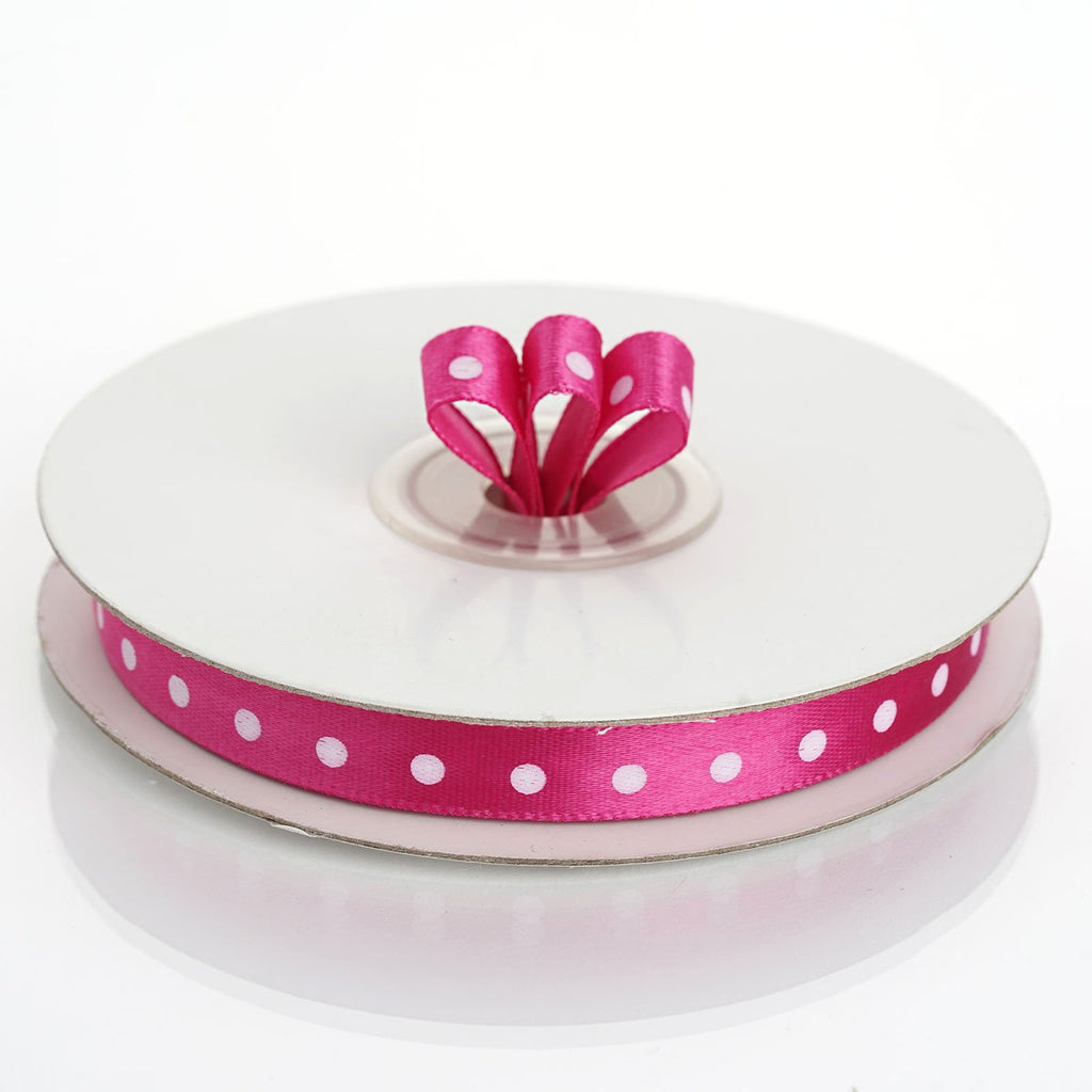 "25 Yards 3/8"" DIY Fushia Polka Dot Satin Ribbon"