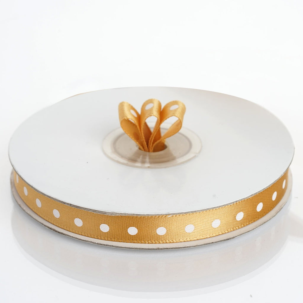 "25 Yards 3/8"" DIY Gold Polka Dot Satin Ribbon"