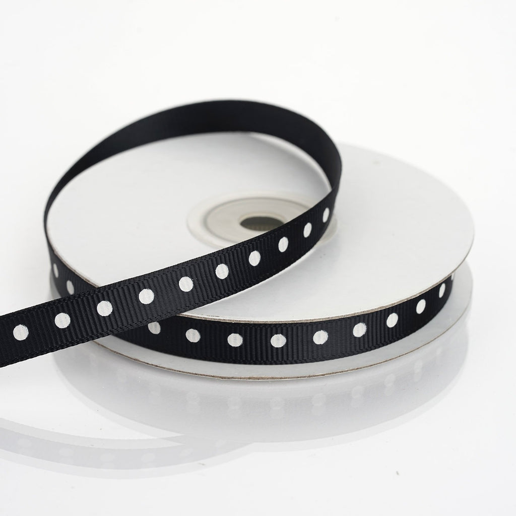 "25 Yards 3/8"" DIY Black Grosgrain Polka Dot Ribbon"
