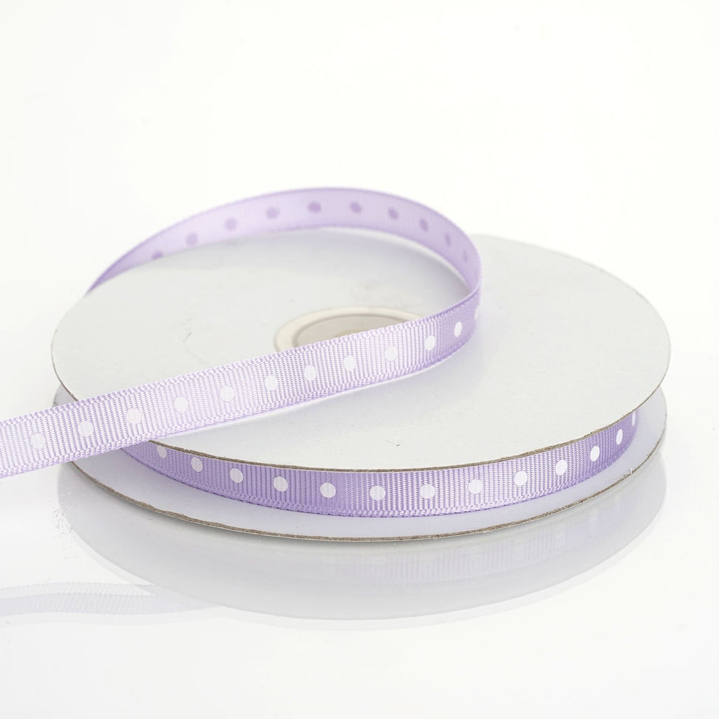 "25 Yards 3/8"" DIY Lavender Grosgrain Polka Dot Ribbon"