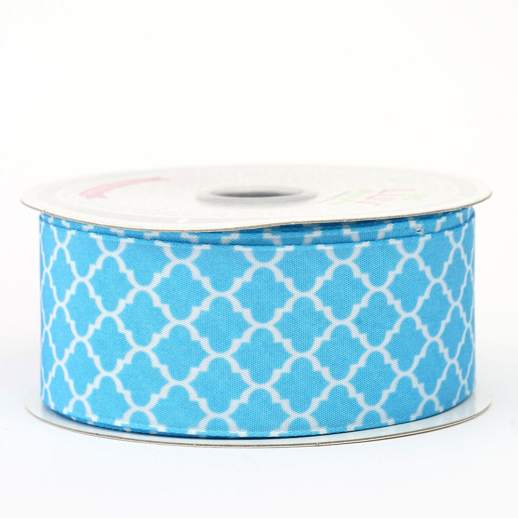 "10 Yards 1.5"" DIY Turquoise Pleasant Geometric Pattern Ribbon"