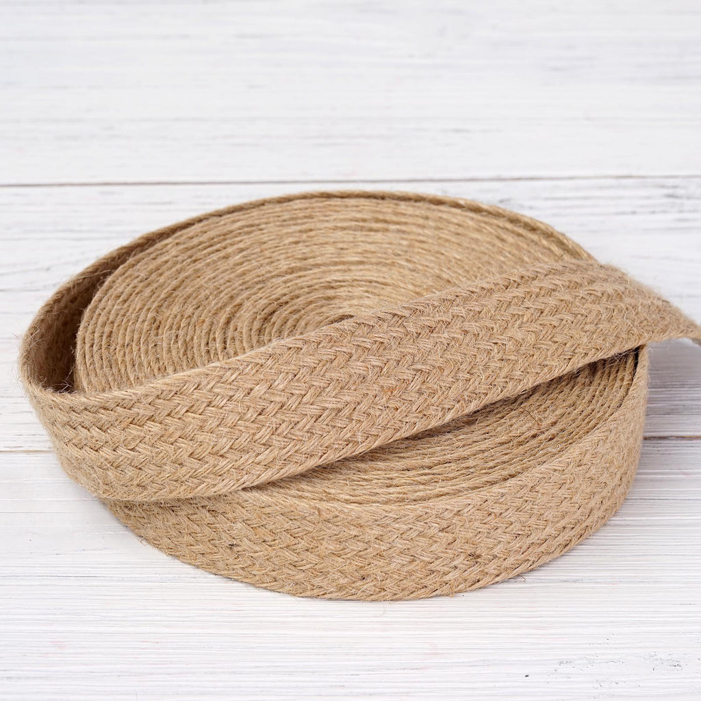 "10 Yards 1.25"" DIY Natural Picturesque Woven Rustic Burlap Ribbon For Craft Dress Wedding"