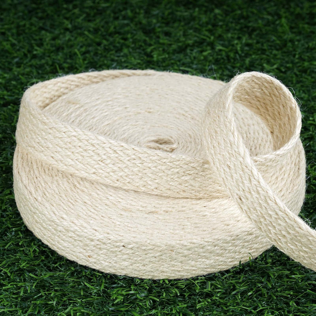 "10 Yards 1"" DIY Ivory Picturesque Woven Rustic Burlap Ribbon For Craft Dress Wedding"