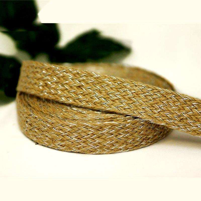 "Extravagant Picture Perfect Woven Trim - Natural with Shiny Silver 1"" x 10yards - Burlap"