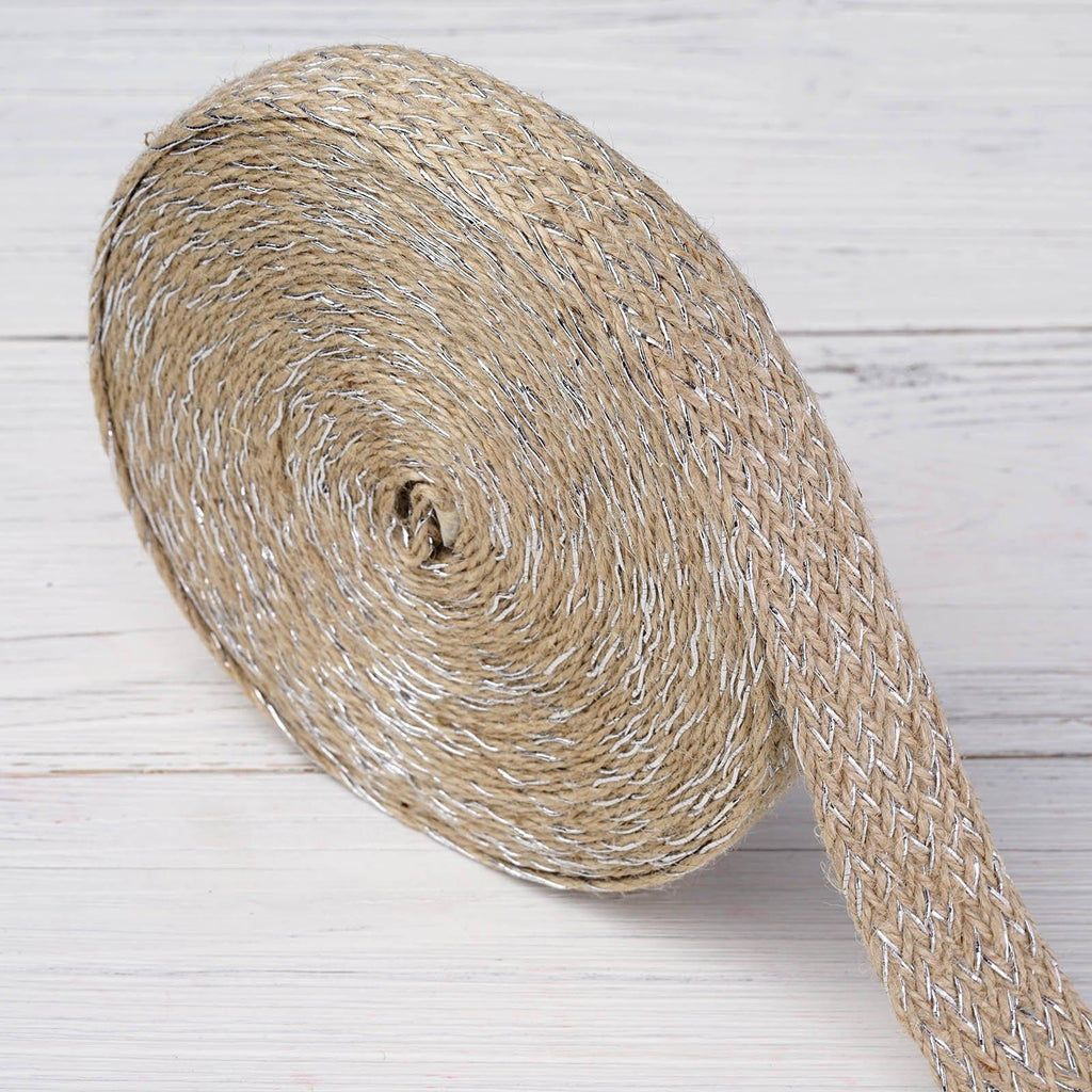 "10 Yards 1"" DIY Natural with Shiny Silver Extravagant Picturesque Woven Rustic Burlap Ribbon For Craft Dress Wedding"