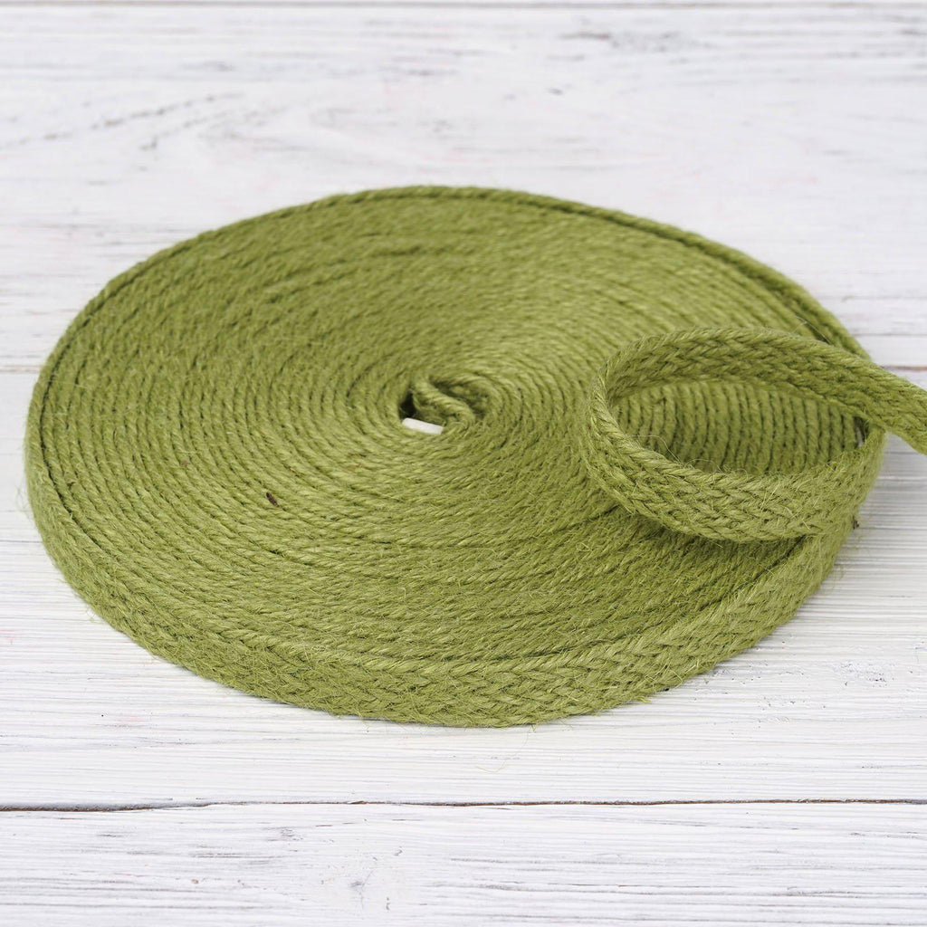 "10 Yards 1/2"" DIY Green Picturesque Woven Rustic Burlap Ribbon For Craft Dress Wedding"