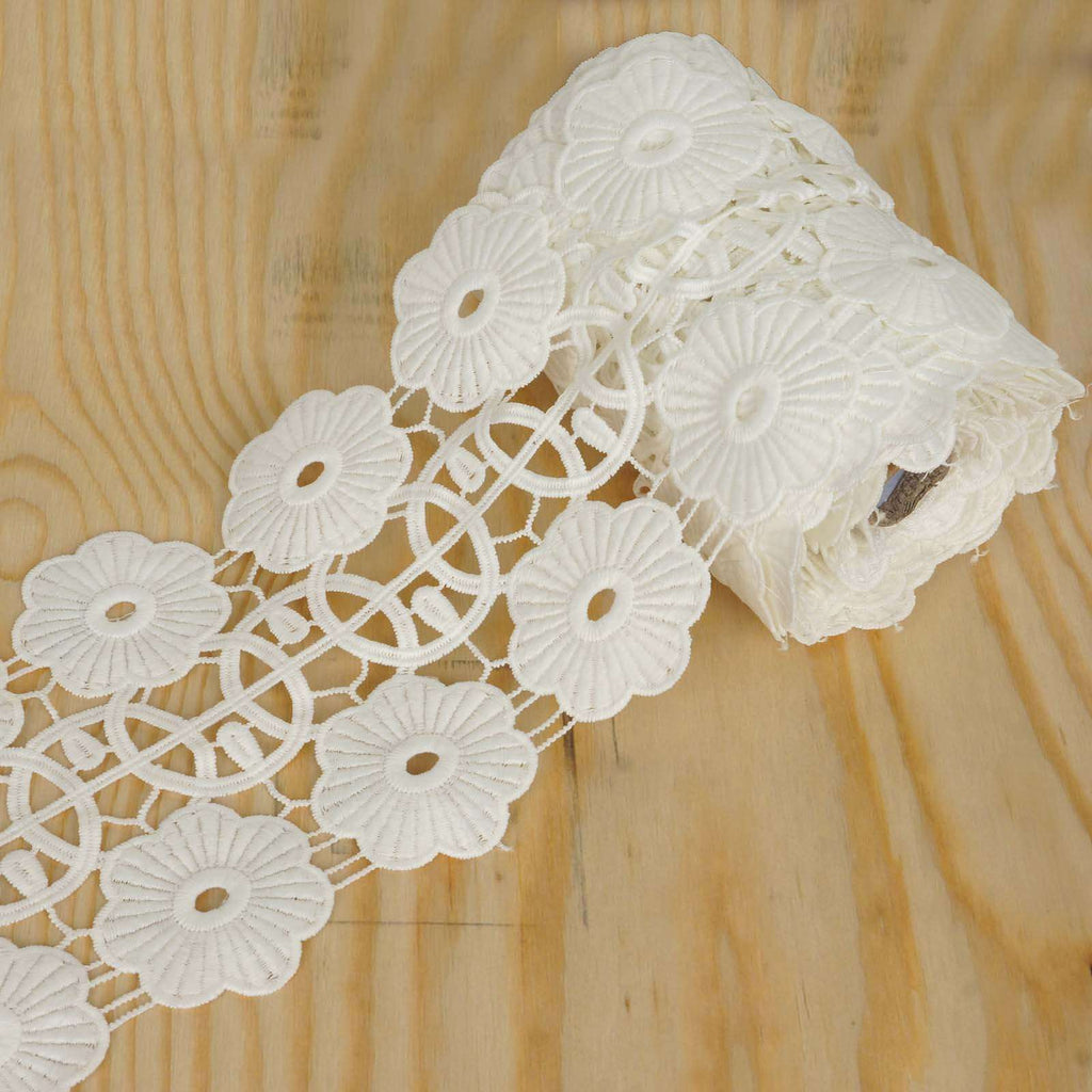 "5 Yards 4.3"" White Daisy Wheel Crocheted Heavy DIY Lace Ribbon Trim Craft Dress"