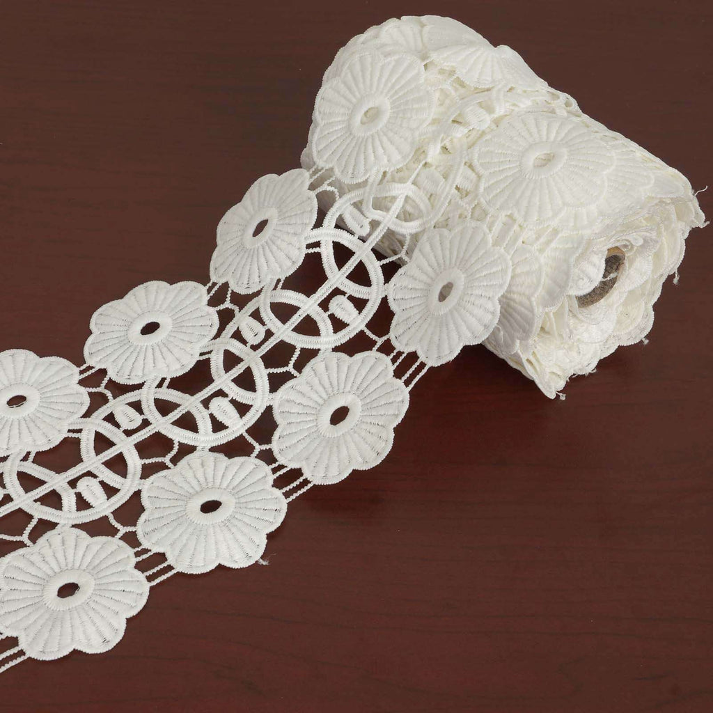 "Daisy Wheel Crocheted Heavy Lace Ribbon Trim 4.3"" x 5yards - White"