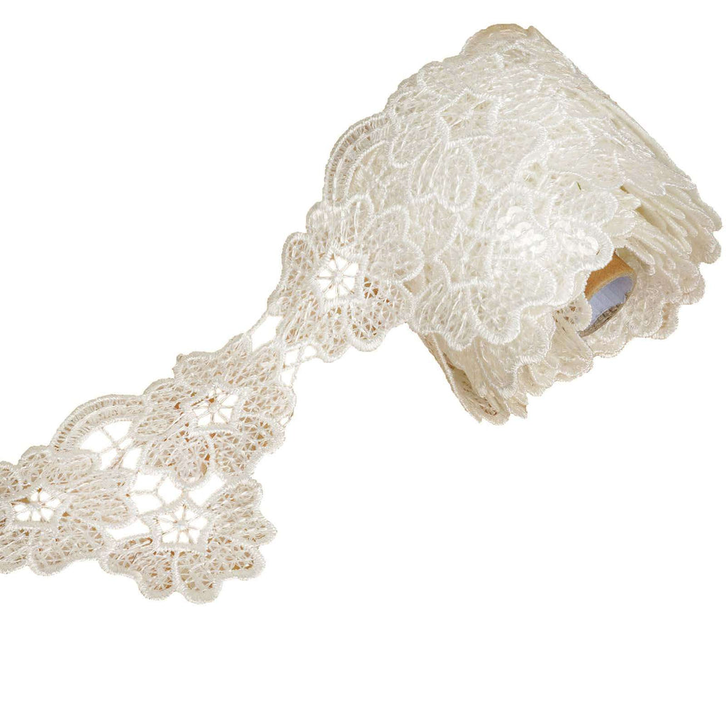 "5 Yards 3.15"" White Cherry Blossom Inspired Clear Sequined Crocheted Heavy DIY Lace Ribbon Trim Craft Dress"