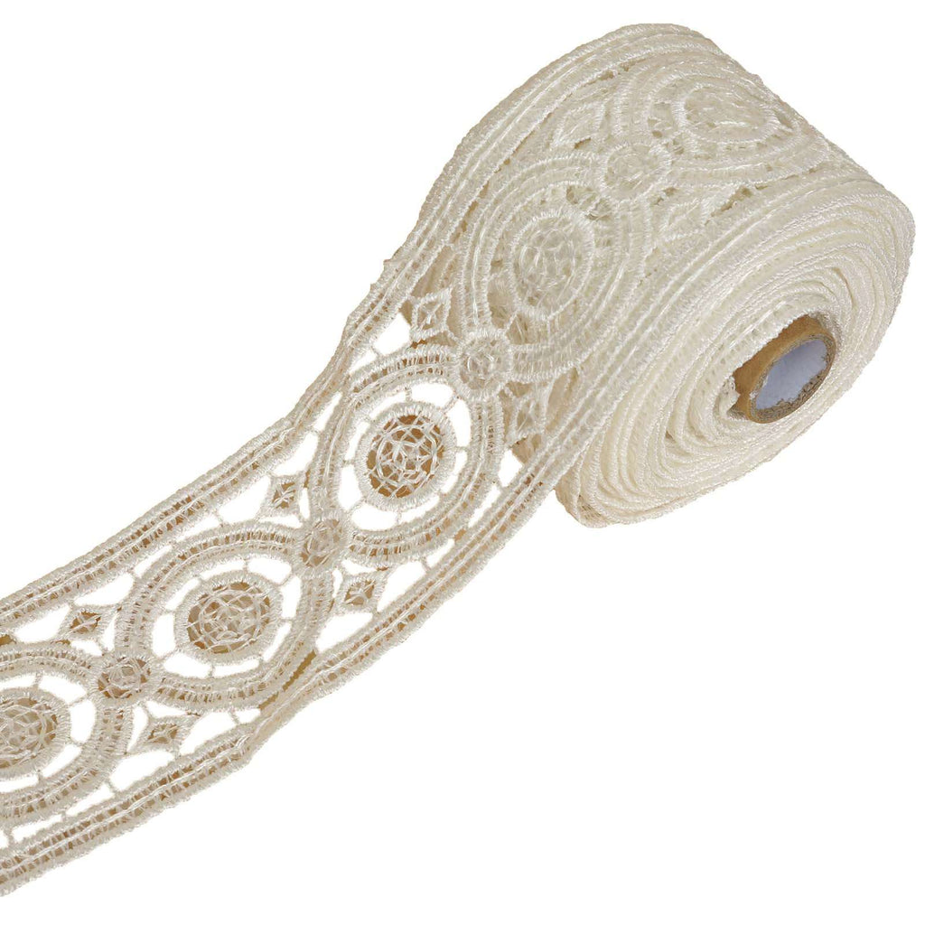 "5 Yards 2.75"" White Capriccio Clear Sequined Crocheted Heavy DIY Lace Ribbon Trim Craft Dress"