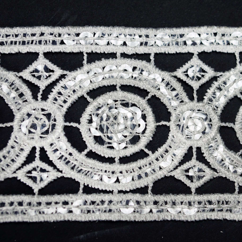 "Capriccio Clear Sequined Crocheted Heavy Lace Ribbon Trim 2.75"" x 5yards - White"