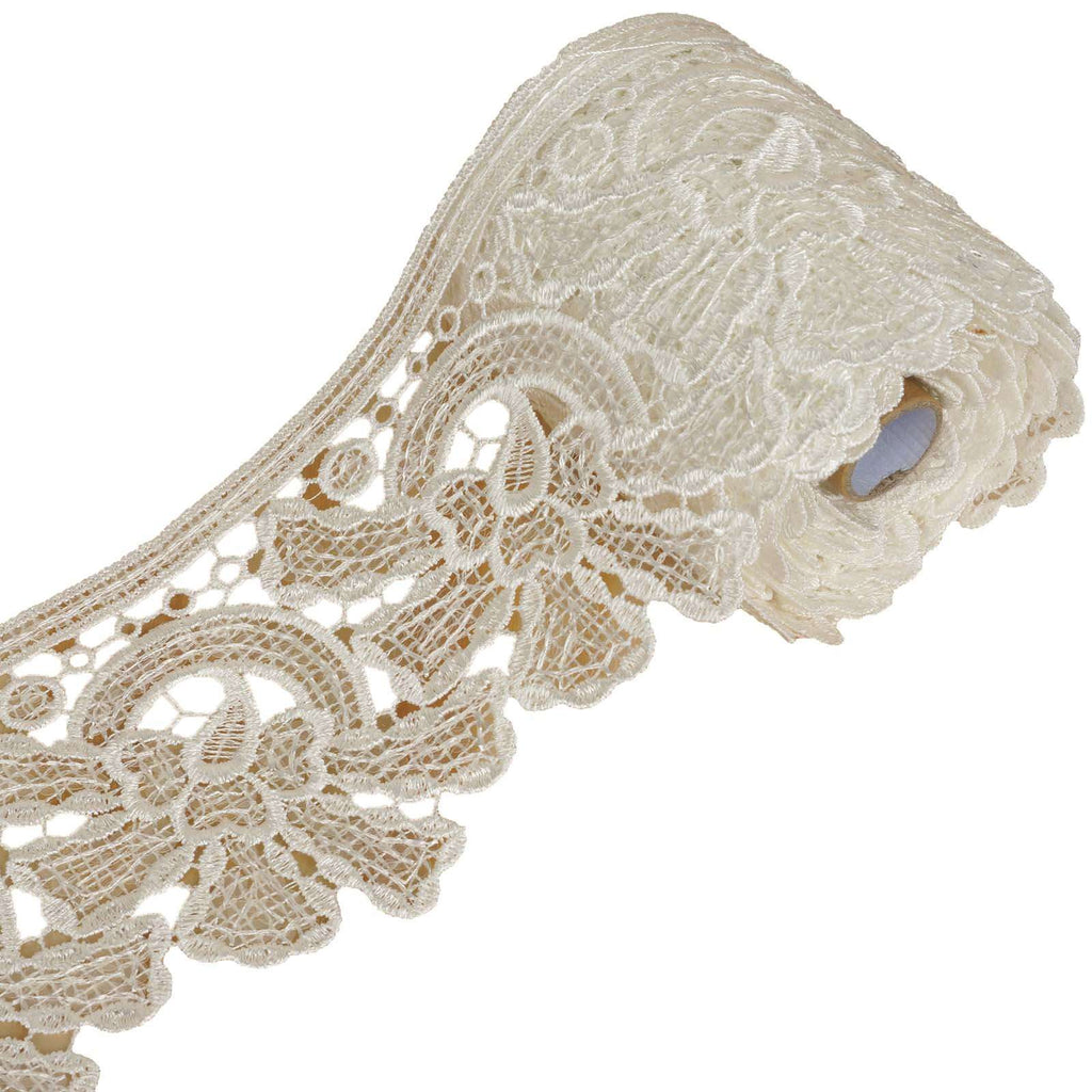 "5 Yards 4.3"" White April Showers Clear Sequined Crocheted Heavy DIY Lace Ribbon Trim Craft Dress"