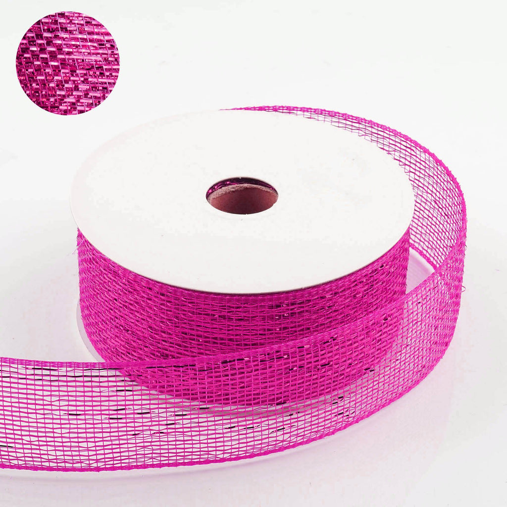 "25 Yards 2.5"" DIY Fushia Sparkling Mesh Ribbons"