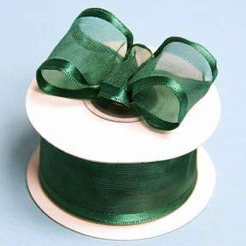 "10 Yard 1.5"" Hunter Green Organza Ribbon With Wired Edged"