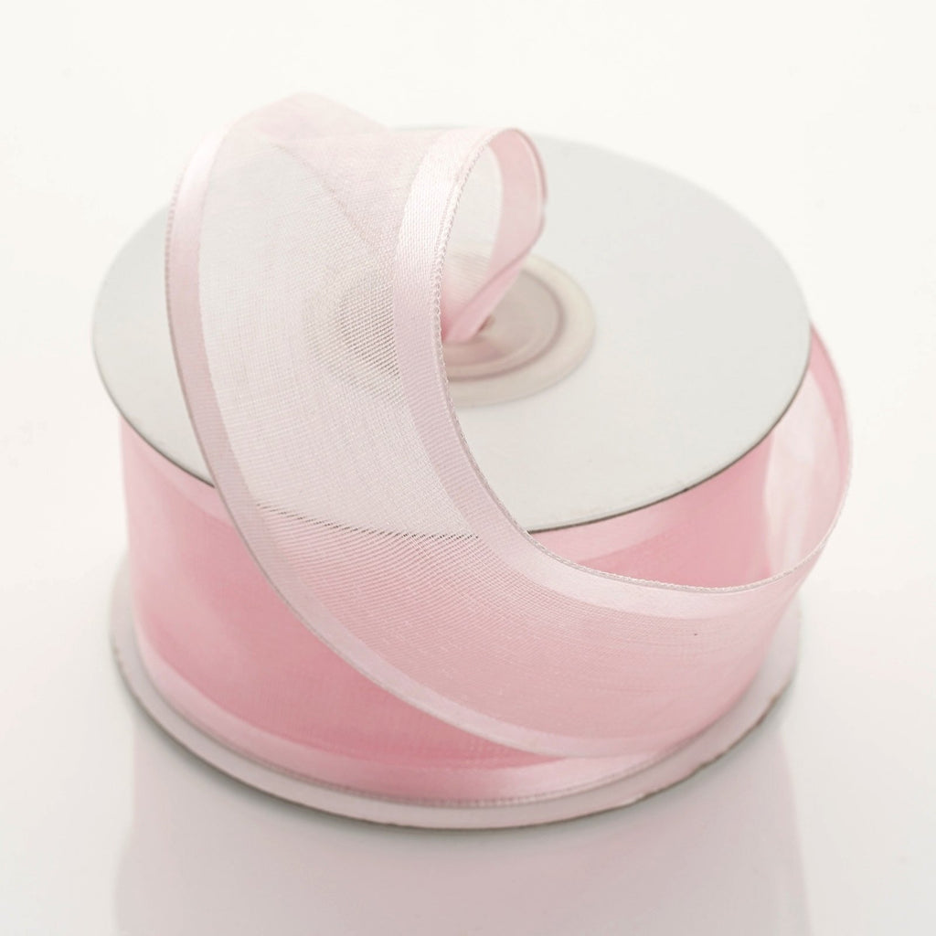 "10 Yard 1.5"" DIY Pink Organza Ribbon With Wired Edged"