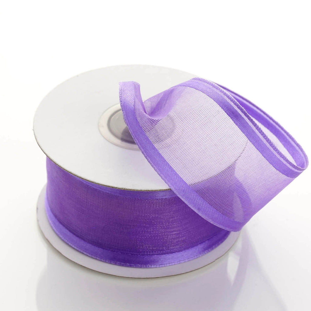 "10 Yard 1.5"" DIY Purple Organza Ribbon With Wired Edged"