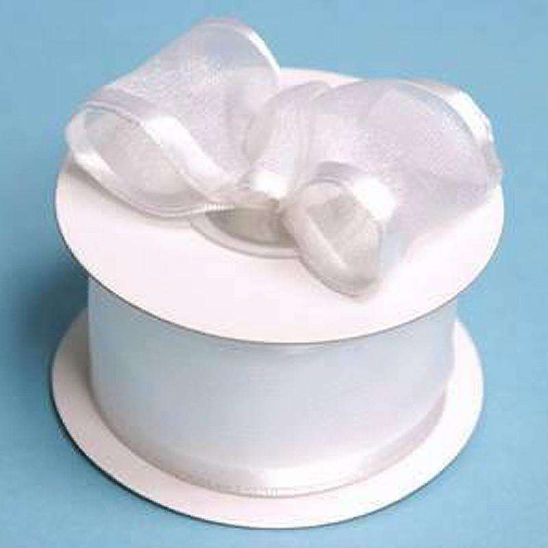 "1.5"" Organza Ribbon With Wire Edge - White - 10 Yard"