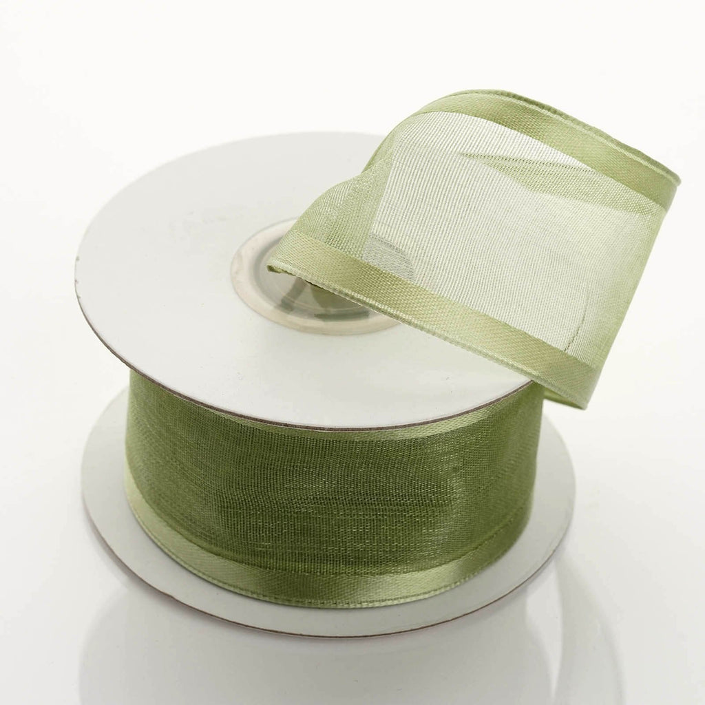 "10 Yard 1.5"" DIY Moss/Willow Organza Ribbon With Wired Edged"