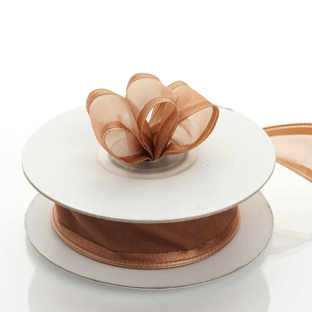 "10 Yards 7/8"" DIY Chocolate Wired Organza Ribbon"
