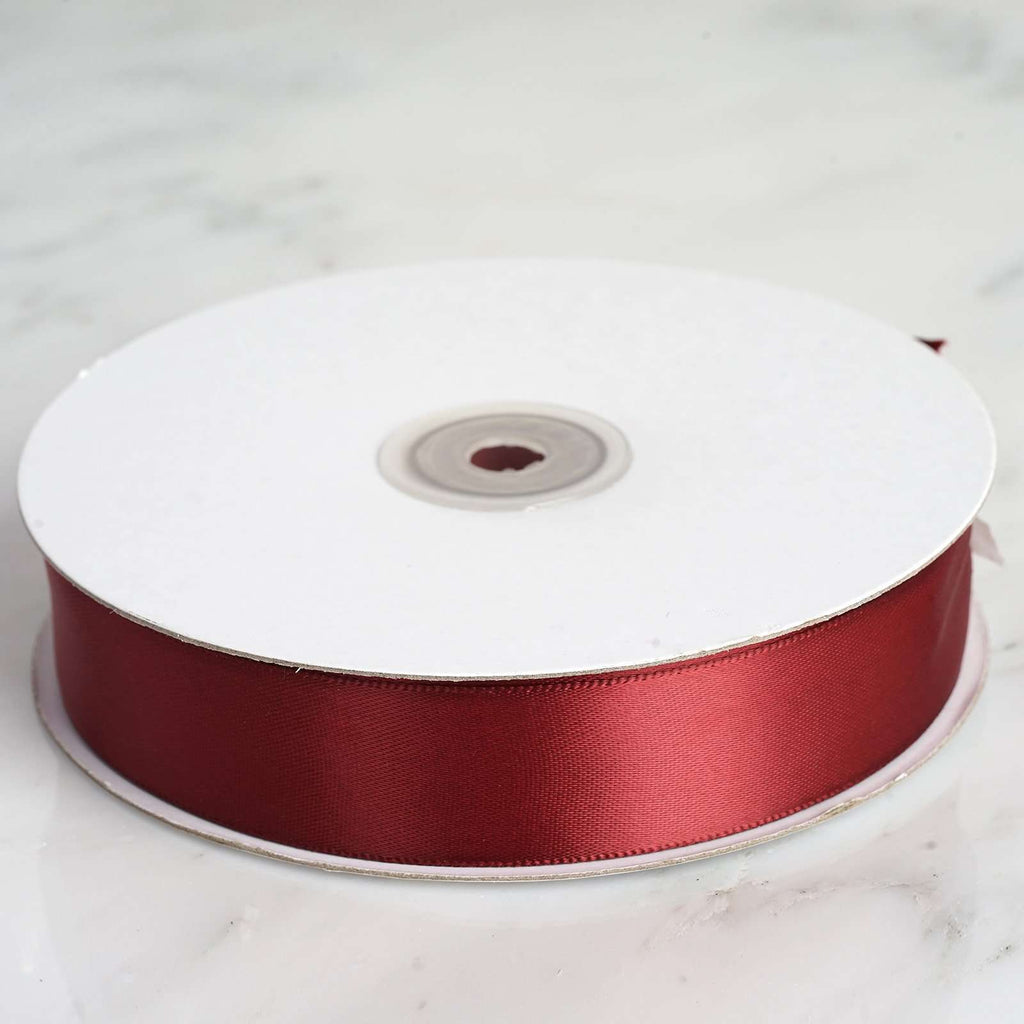 "50 Yards 1"" DIY Burgundy Satin Ribbon"
