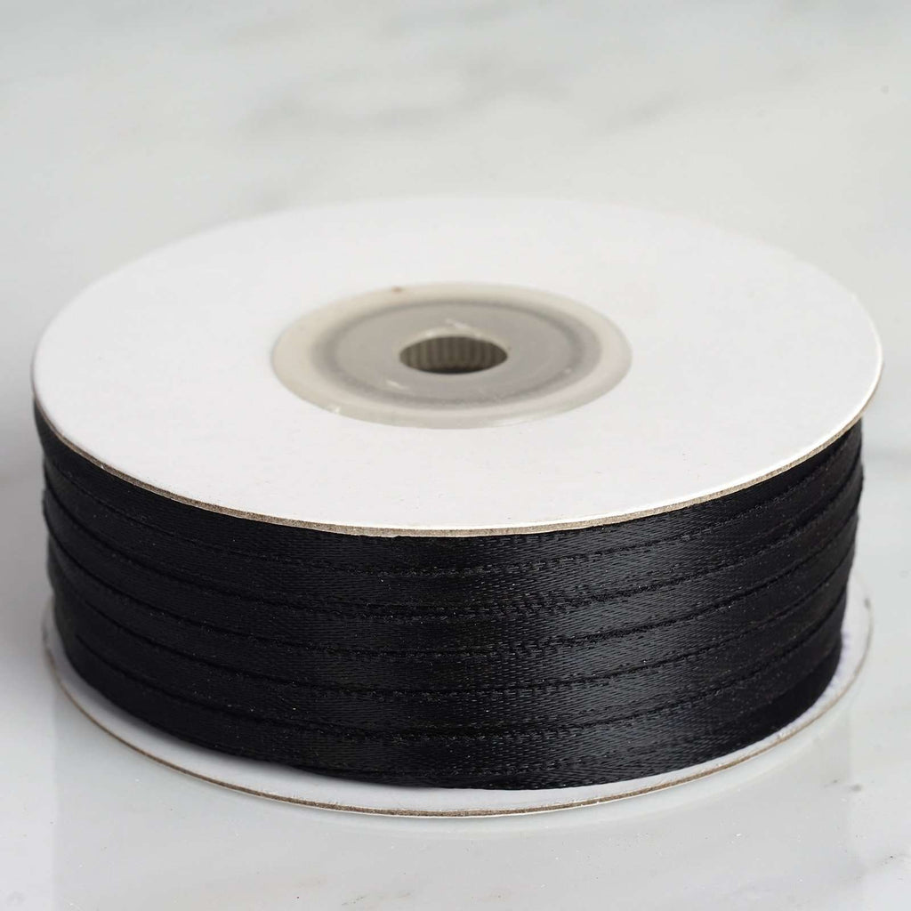 "100 Yards 1/8"" DIY Black Satin Ribbon"