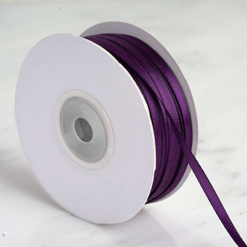 "100 Yards 1/8"" DIY Eggplant Satin Ribbon"