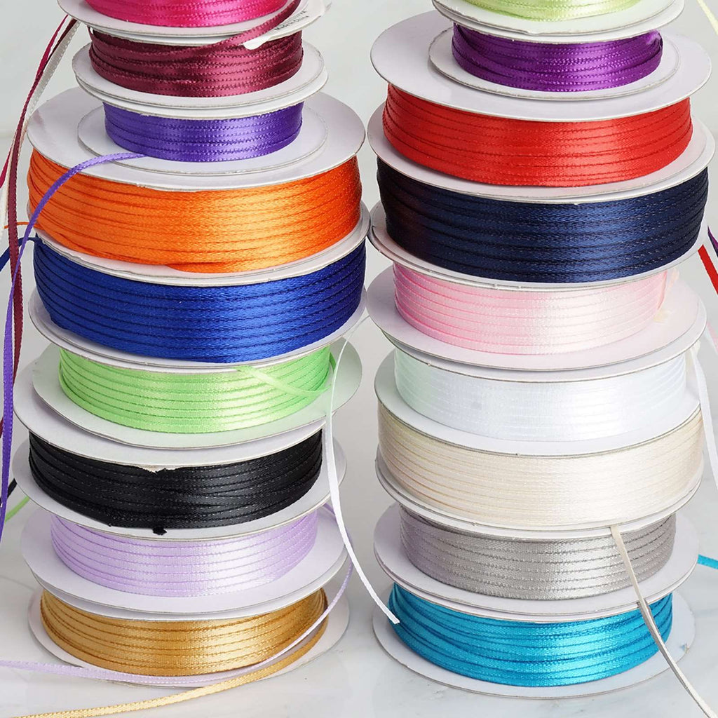 "100 Yards 1/16"" DIY Silver Single Face Satin Ribbon"