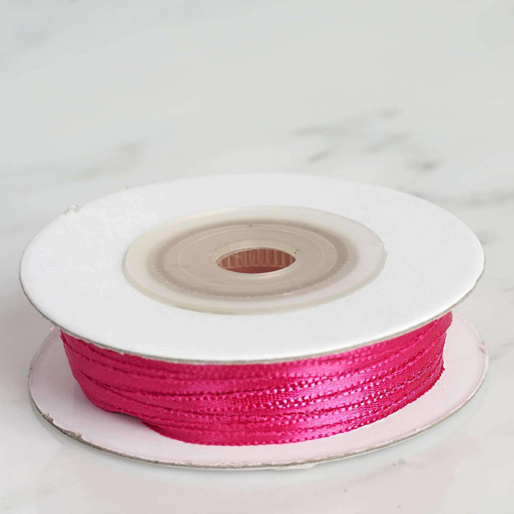 "100 Yards 1/16"" DIY Fushia Single Face Satin Ribbon"