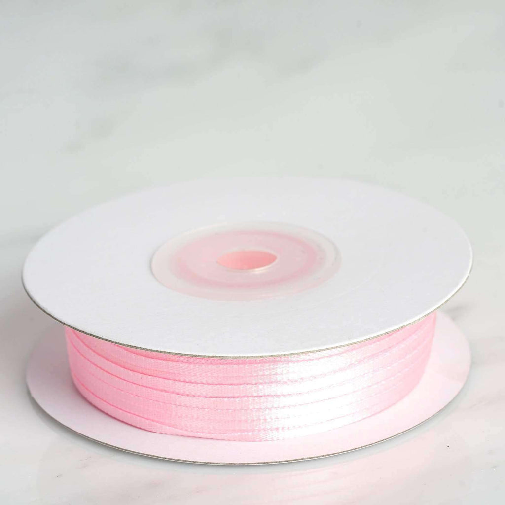 "100 Yards 1/16"" DIY Pink Single Face Satin Ribbon"