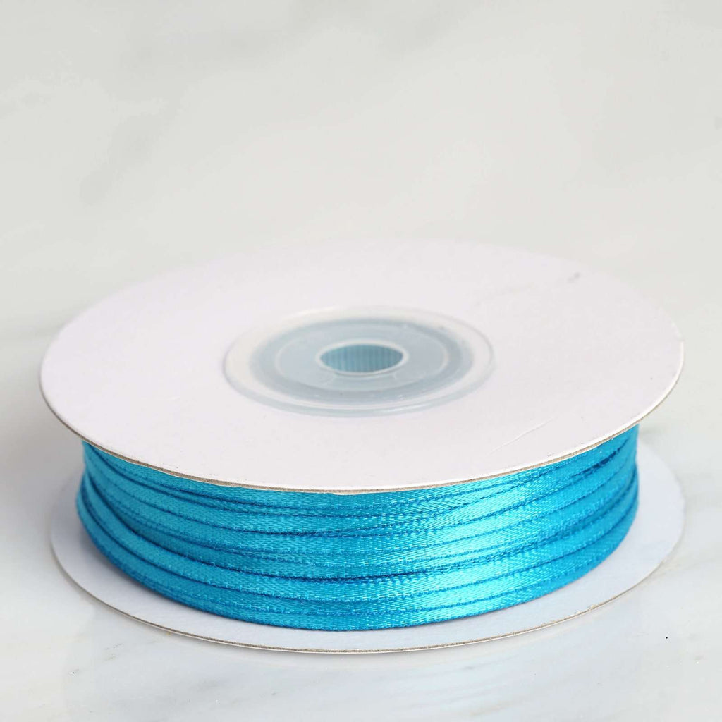 "100 Yards 1/16"" DIY Turquoise Single Face Satin Ribbon"