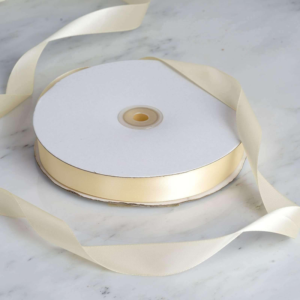 "100 Yards 7/8"" DIY Ivory Satin Ribbon"