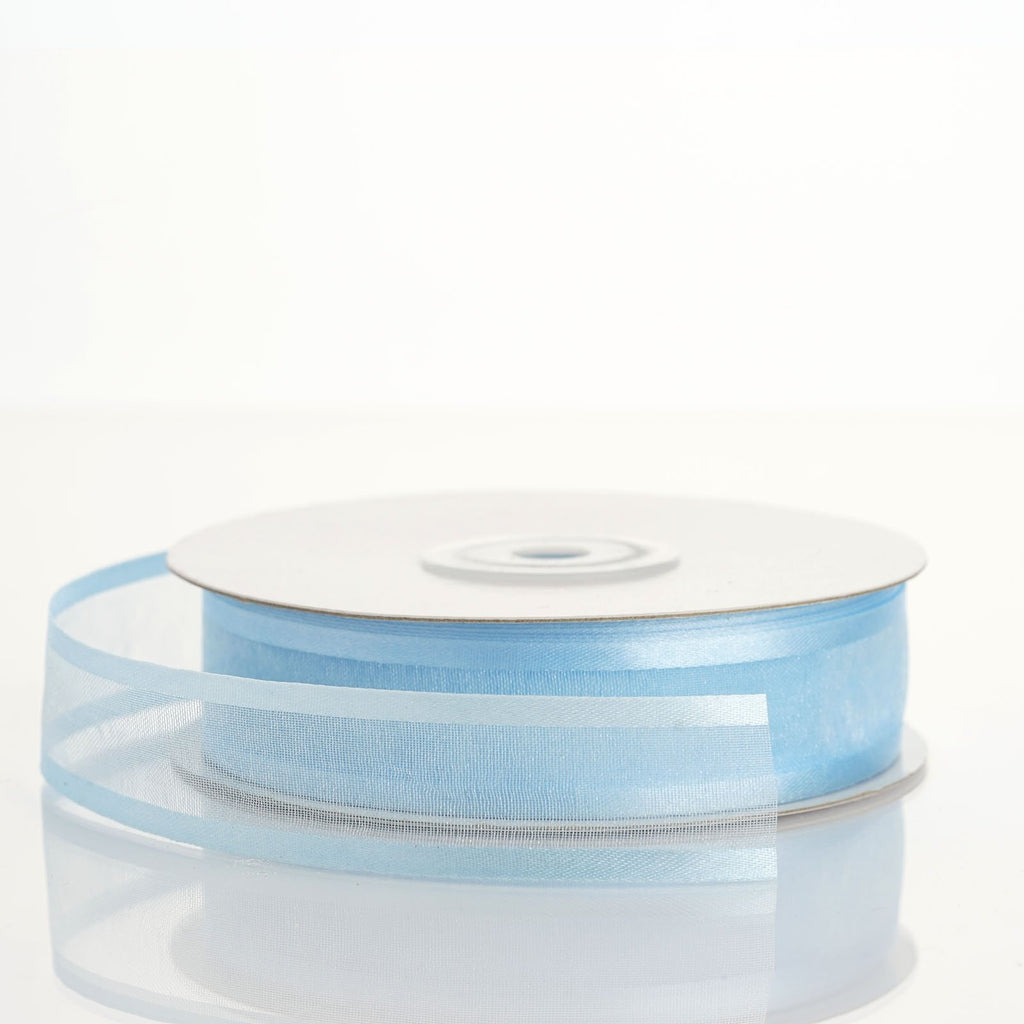 "25 Yard 7/8"" DIY Baby Blue Organza Ribbon With Satin Edges"