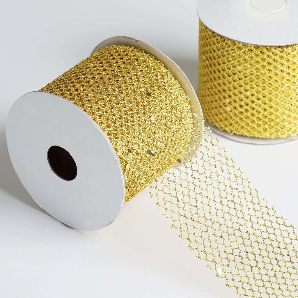 Glittery Hexagonal Mesh Ribbon -Gold- 2.5 x 10 Yards