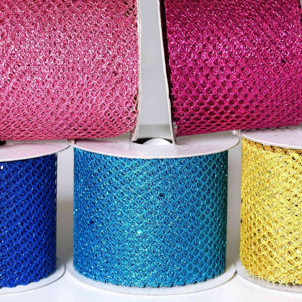 Glittery Hexagonal Mesh Ribbon -Pink- 2.5 x 10 Yards