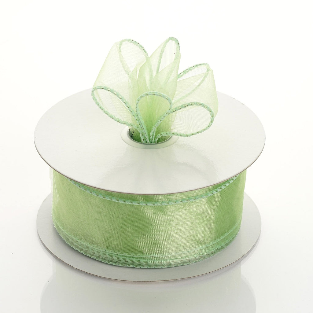 "10 Yards 1.5"" DIY Mint Wired Organza Ribbon"