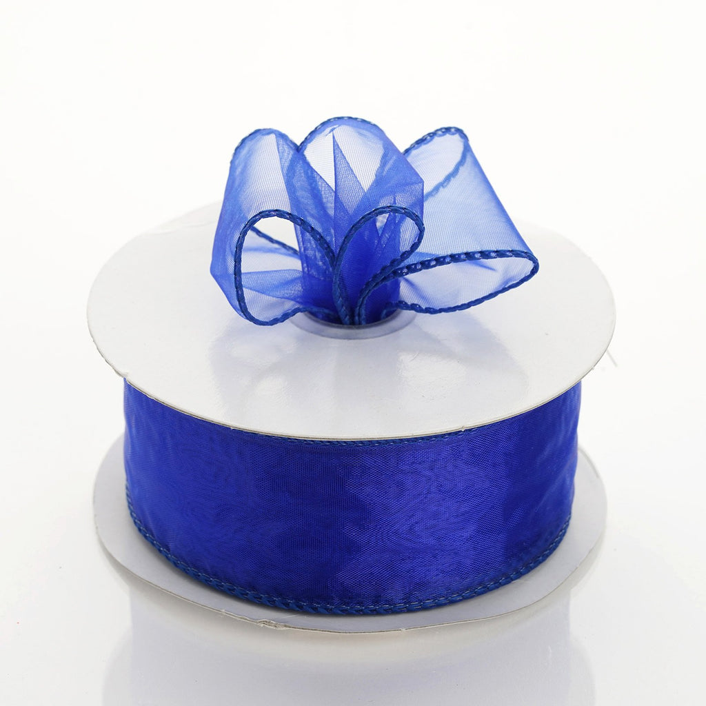 "10 Yards 1.5"" DIY Royal Blue Wired Organza Ribbon"