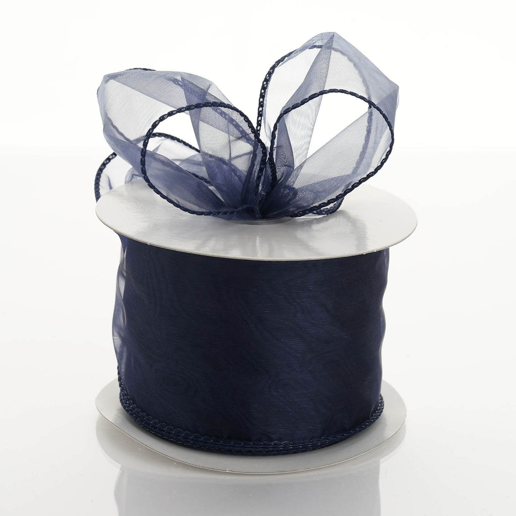 "10 Yards 2.5"" DIY Navy Blue Wired Organza Ribbon"