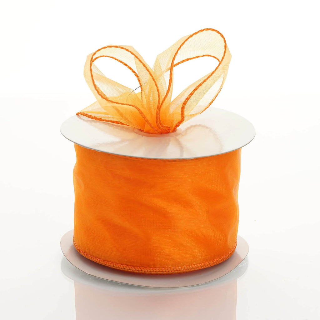 "10 Yards 2.5"" DIY Coral Orange Wired Organza Ribbon"