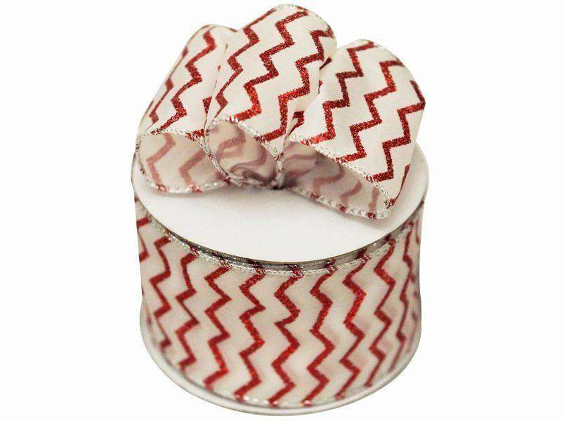 "Sparkly Chevron Wired Decorative Ribbon 2 1/2"" x 10 yds"