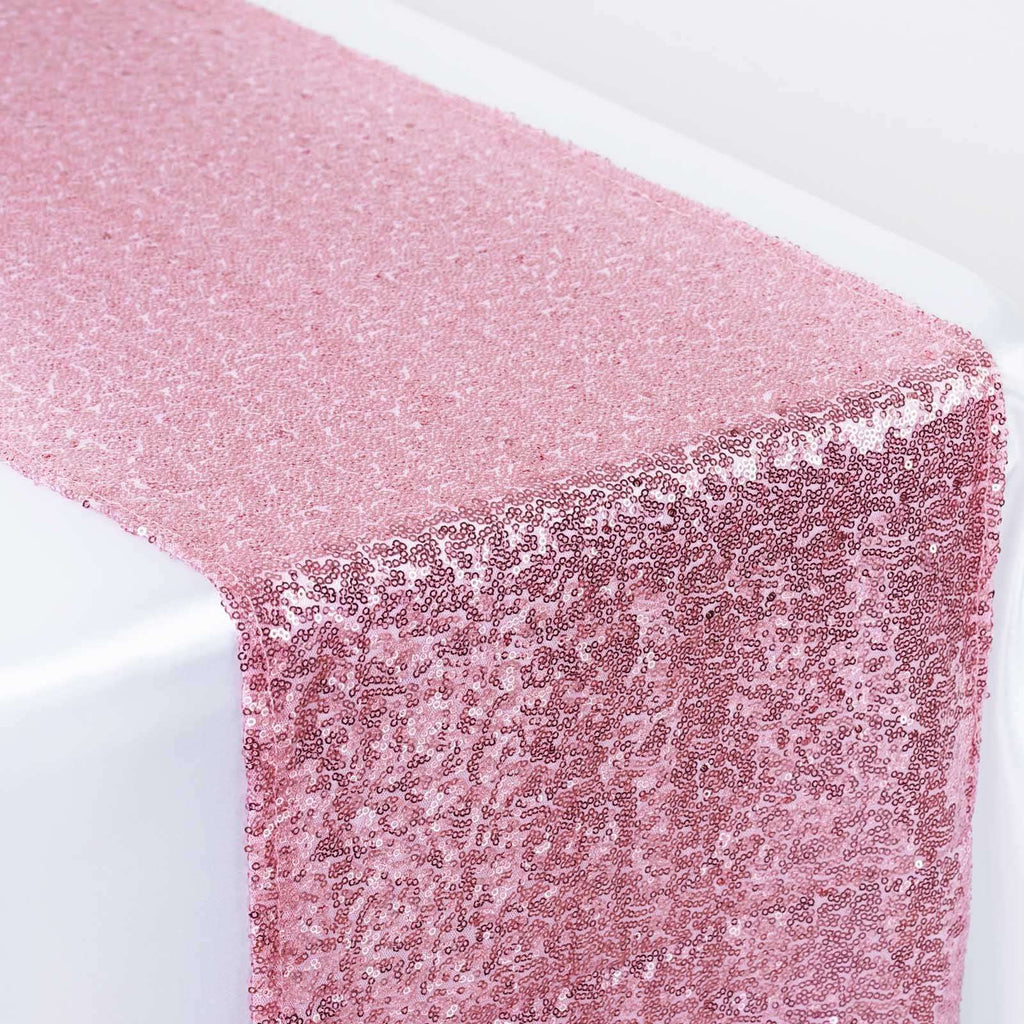 Pink Premium Sequin Table Runners - Table Top Wedding Catering Party Decorations - 108x12""