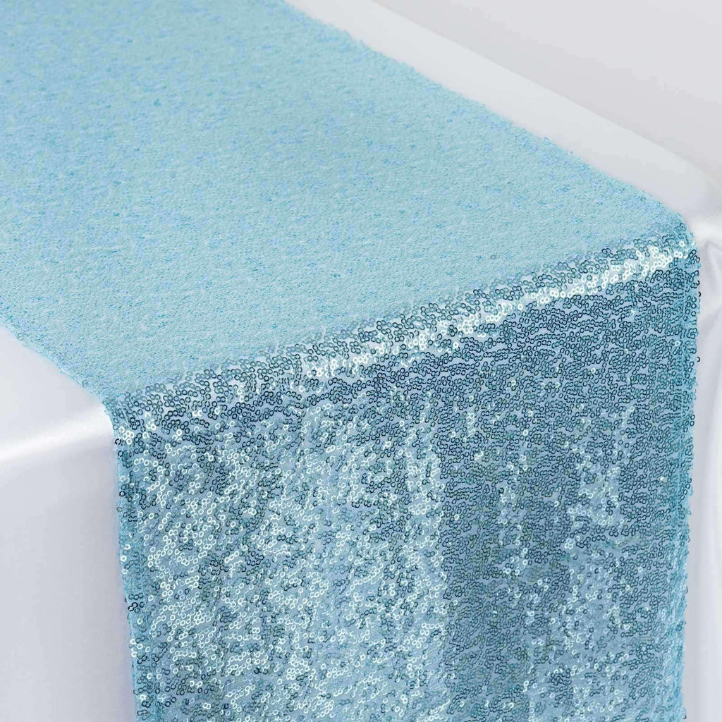 Serenity Blue Sequin Table Runners - Table Top Wedding Catering Party Decorations 108x12""