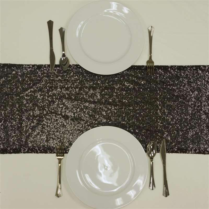 Black Sequin Table Runners - Table Top Wedding Catering Party Decorations 108x12""