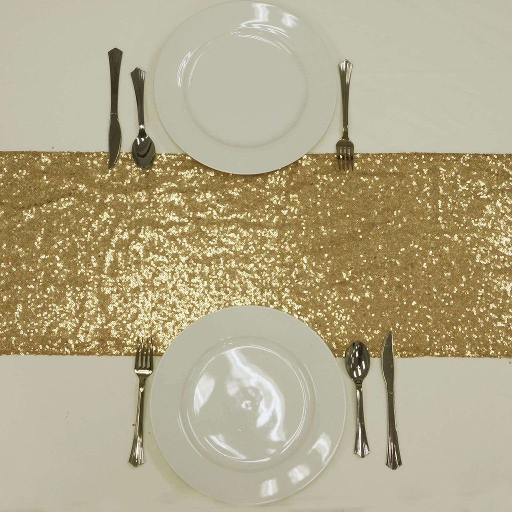 Gold Premium Sequin Table Runners - Table Top Wedding Catering Party Decorations - 108x12""