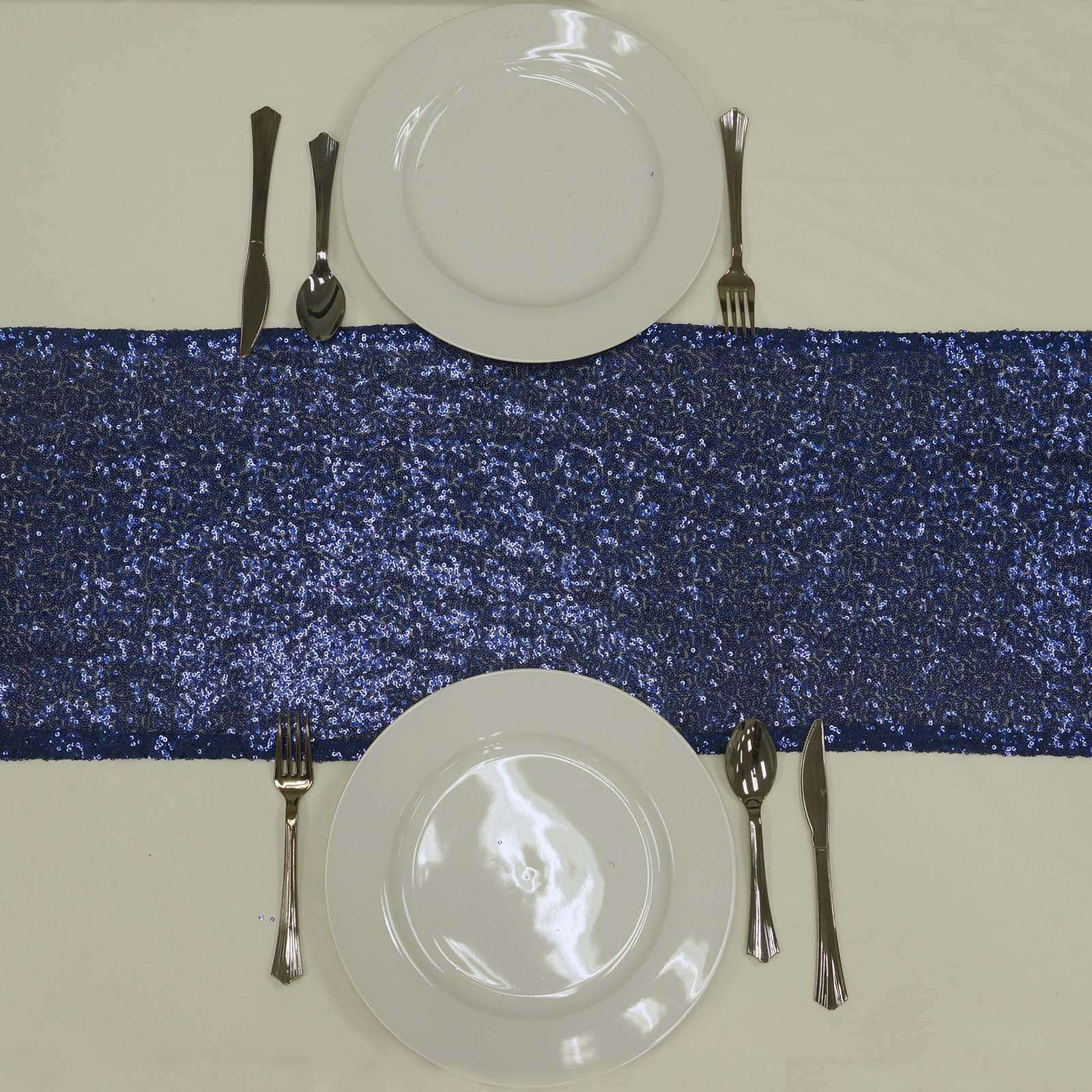 Navy Blue Premium Sequin Table Runners Table Top Wedding Catering Party Decorations 108x12